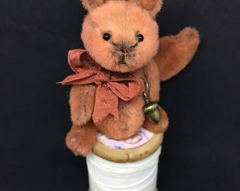 Red - One of a Kind Miniature Artist Bear - Squirrel