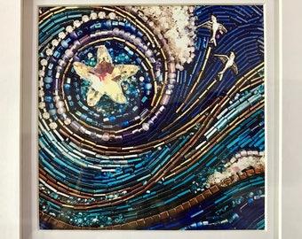 "Framed 5x5 inch ""StarSwept"" Fine Art Print - beaded mosaic art, wall art, framed prints, Diana Maus original art"