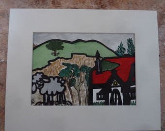 THE SHEEP-S HOMELAND.a small matted painting.
