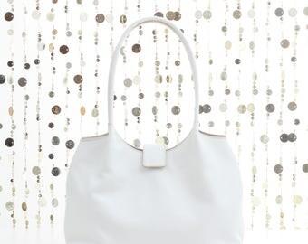 White leather shoulder bag, white leather bag, leather handbag, white tote, white leather tote, white bag, white leather bag, FREE SHIPPING