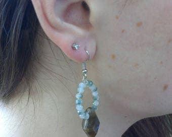 Laboradorite and Swarovski Crystal Earrings - Laboradorite - Swarovski  Crystals - Earrings