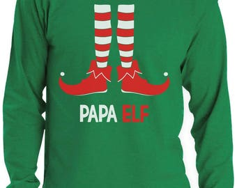 Papa Elf - Funny Christmas Gift for Dad / Grandpa Long Sleeve T-Shirt