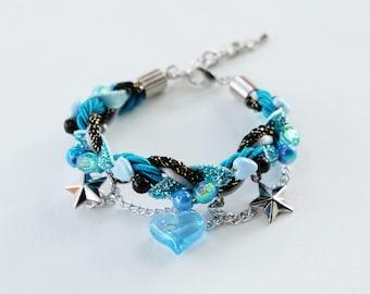Blue galaxy bracelet - statement bracelet - cute bracelet - braided bracelet - charm bracelet - kawaii bracelet -girl bracelet-gift for girl
