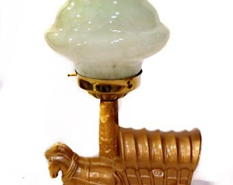Art Deco Horse Lamp - Horse Wagon Stagecoach Table Lamp - Western - Spatter Glass Art Glass Shade - 1930s Lighting - Southwestern Wild West