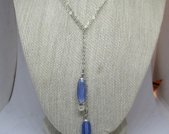 Blue and Pearl Lariat