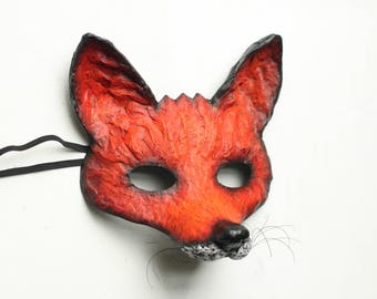 The Cunning Fox Mask Handmade Animal Mask Paper Mask Party Mask Animal mask Papier Mache