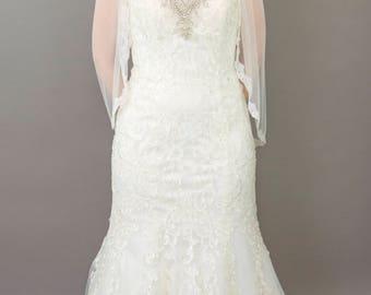 Couture bridal veil, lace veil, 3/4 length, lace trim - Lena