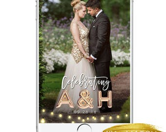 Wedding Snapchat Geofilter, Unique Wedding Balloon Gold Silver Classic Classy Elegant Snap Filter, Cute String Lights Geofilter Bridal