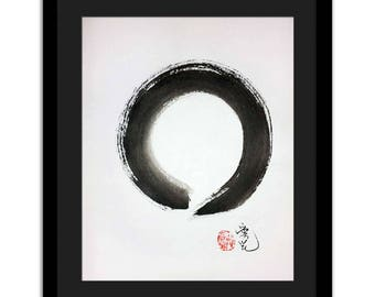 Zen Circle original painting - option for custom calligraphy