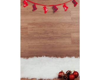 Digital Backdrop, wooden backdrop with red garland and white fluffy sheepskin