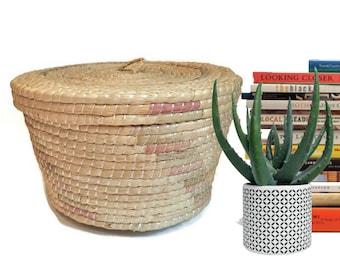 Vintage Hand Woven Basket Storage Basket Lidded Sewing Basket Southwestern Decor Coiled Basket with Lid Bohemian Decor Basket  Large Basket