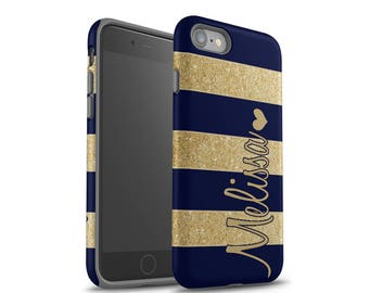 iPhone 8 Case, Monogram, iPhone 6 Case, iPhone 7 Case, iPhone 7 Plus Case, Galaxy S8 Case, Navy Blue Stripes, Sparkle (NOT REAL GLITTER)