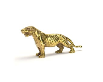 FREE SHIPPING Vintage Brass Tiger Figurine Statue - Bengal Tiger African Safari Animals - Baby Nursery - Hollywood Regency - Gifts for Guys