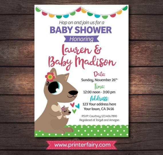 kangaroo baby shower invitations girl baby shower digital invites