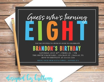 Boy Birthday, Invite, Birthday Invitation, Blue, Green, Orange, Red, First, 1st, 2nd, 3rd, 4th, 5th, 6th, 7th, 8th, 9th | digital file only!