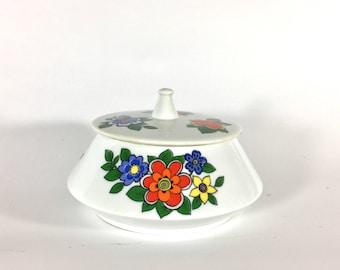 Porcelana Schmidt Floral Sugar Dish, Porcelain, Brazil, Flowers, Bowl, 1970s