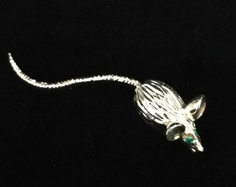 Vintage Silver Tone Articulated Tail Rat/Mouse Pin/Brooch (JT2)