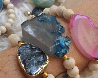 The Vintage Junkie...Stacking, Stretch Agate and Stone Beaded Bracelets