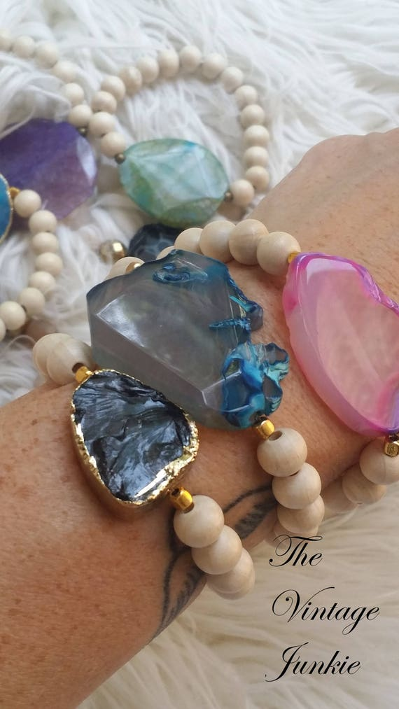 Stacking, Stretch Agate and Stone Beaded Bracelets