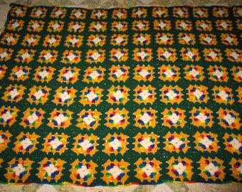 Vintage Hand Crochet Blanket~Throw~Afghan - Crochet Granny Square Pattern-UNUSED