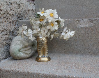 RARE Brass Owl Vase, Brass Owl Pencil Holder, Paint Brush Container, Flower Pot, Makeup Storage, Made in India