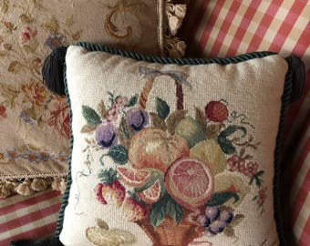 French Country Petit point Needlepoint Floral and Fruit Basket Pillow