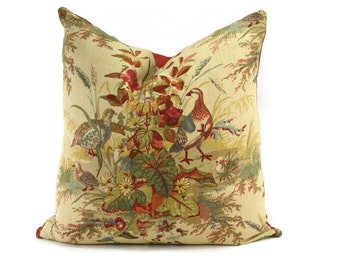 Quail Meadow Autumn Schumacher Floral Throw Pillow Cover, 20x20, Tan, Green, Teal, Gray, Red, Coral, Brown