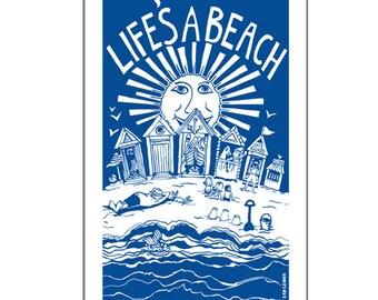 "Tea towel ""Life's a beach"" design 100 % cotton"