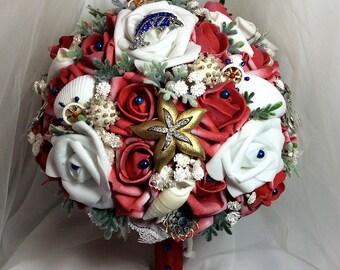 Beach Wedding Bridal Flower Bouquet-Beach Bride's Flowers-Red-White-Navy-Nautical Wedding Flower Brooch Bouquet-Seashell Wedding-Starfish