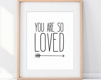 You Are So Loved Art Print, Arrow Modern Art, Arrow Art, Love Quote Art, Paper Art Print, Wedding Decor, Wedding Gift, Love Wedding Sign