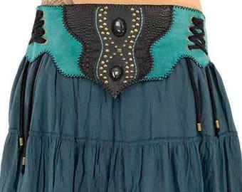 Pixie pointed back belt, leather and stone tribal belt, blue labradorite gypsy belt, corset on side, bohemian large belt, bronze rivets,