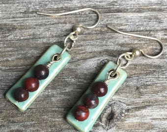 Handmade ceramic earrings - mint green with jasper beads and silver filled ear wires