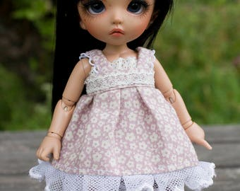 Plum and off white summer dress with lace for Pukifee