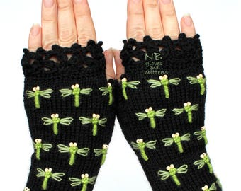 Knit Fingerless Gloves, Green Dragonfly, Black Embroidered Gloves With Dragonflies, Ivory Beads, Gloves And Mittens, Christmas Gift