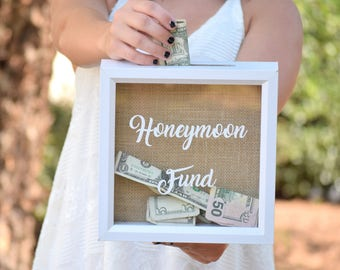 Honeymoon Fund Wedding Sign - Honeymoon Fund Box - Honeymoon Gifts - Wedding Gift Money Box Rustic Wooden Honeymoon Fund Box Money Holder