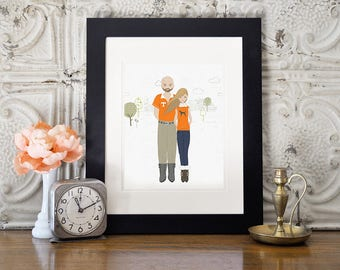 Custom Family Illustration, Digital Custom Family Portrait, Family Portrait, Custom Family Portrait,Football Gift