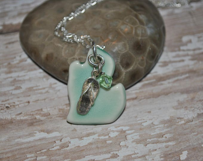 Blue/green ceramic Michigan pendant, sterling silver flip flop and green crystal, Michigan necklace, Up North