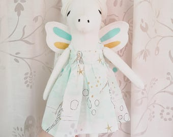 Hand made Unicorn/ Pegasus/ Alicorn Unicorn Doll with Butterfly Wings