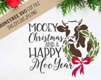 Mooey Christmas Farmhouse SVG cut file for Silhouette and Cricut type machines