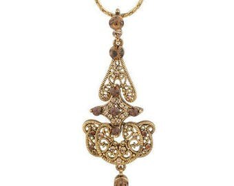 Jackie Kennedy Arabesque Necklace - Gold Plated, Topaz Stones, Box and Certificate