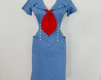 1950s Red, White & Blue Cotton Sailor-style Wiggle Dress with 2 Great Looks