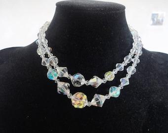 Wedding Crystal Double Strand Vintage Necklace Choker Collectible Aurora Borealis Crystals 1960