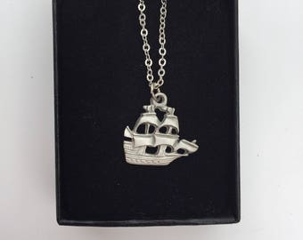 Vintage Pirate Ship Pendant and Chain -- Made of Pewter in Original Box!