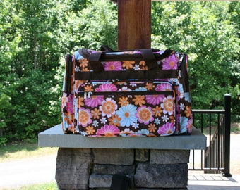 Monogram Duffel Bag Mult-colored Flowers Personalized Overnight Bag