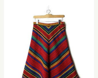 ON SALE Vintage Red x Multi color Flare Skirt  from 1970's/W24*