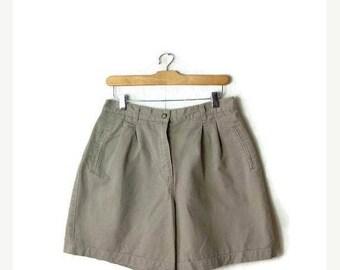 ON SALE Vintage Beige High Waist Cotton Flare Shorts/W28*
