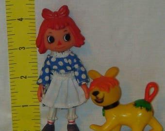 Vintage Raggedy Ann and Raggedy Arthur Plastic Toys! 1980! Bobbs Merrill!