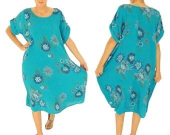 ID800TÜ ladies linen long tunic dress one size vintage geblühmt tropical-green short-sleeved oversize Gr. 46 48 50 52