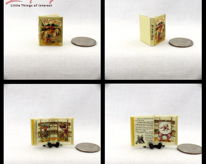 FUN At The CIRCUS Dollhouse Miniature Book 1:12 Scale Illustrated Vintage Old Toy Book Clown Elephant Bear Horse