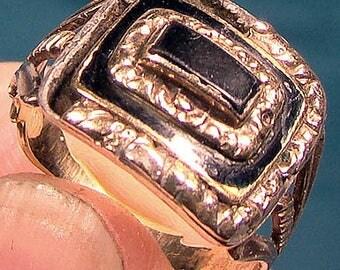 Genuine Georgian 15k Onyx and Enamel Mourning Ring - Size 6-3/4